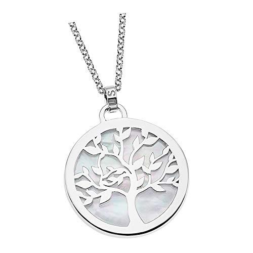 Lotus Silver Collar de plata de ley 925 con diseño de árbol de la vida LP1821-1-1