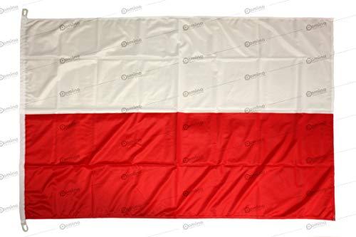 Bandiera Polonia 150x100 in Tessuto Nautico Antivento da 115g/m², Bandiera Polacca 150x100,Bandiera della Polonia 150x100 con Cordino o moschettone,Doppia Cucitura perimetrale e fettuccia di Rinforzo