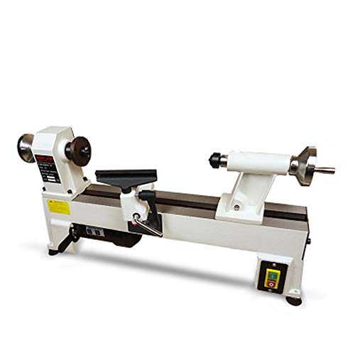 Read About 550W Wood Lathe 220V AC 5 Stalls 760/1100/ 1600/2200/ 3200RPM Belt Speed Regulation JWL-1...