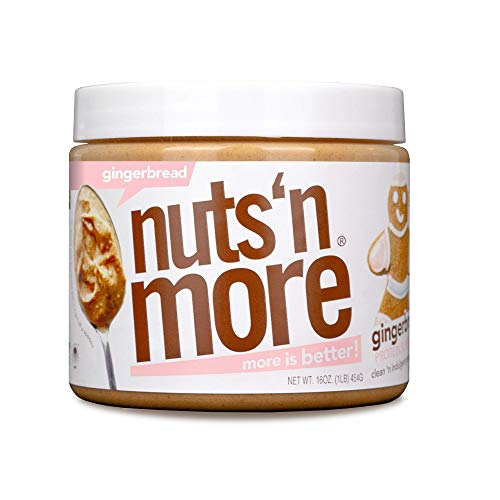 Nuts 'N More Gingerbread Peanut Butter Spread, All Natural High Protein Nut Butter Healthy Snack, Omega 3's and Antioxidants, Low Carb, Low Sugar, Gluten-Free, Non-GMO, no preservatives,16 oz Jar