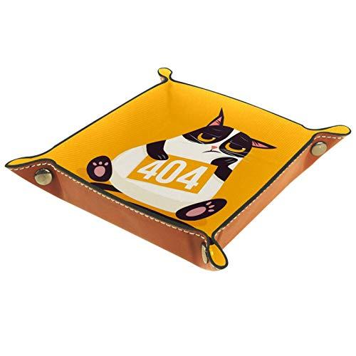 ZDL Cute Angry Cat Kitty 404 Caja de almacenamiento para llaves, teléfono, moneda, cartera, relojes, etc. 16 x 16