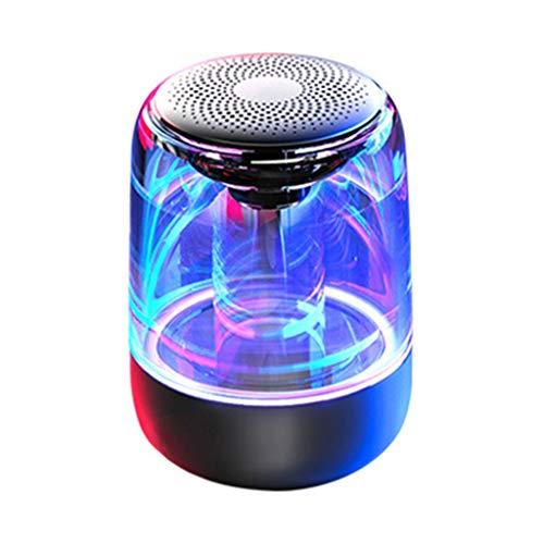 Altavoces portátiles Altavoces Bluetooth Portátiles, Altavoces de Música de Cristal de Cristal de Sonido Estéreo de 360 ° con Luz de 7 Colores Ajustables para Teléfonos Móviles, Tabletas, Portátiles