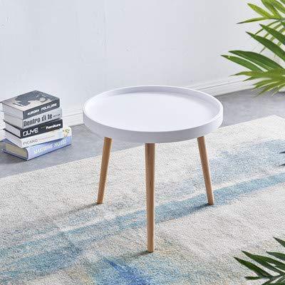 Sim Luxury Moderner runder Couchtisch, Beistelltisch mit Holzbeinen für Wohnzimmer, Arbeitszimmer, 50 cm x 50 cm x 45 cm (weiß)