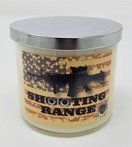 Shooting Range Candle ~ Gunpowder & Spent Brass Scented Soy Wax Candle ~ Large 3 Wick Jar Soy Wax ~ 100% Made in USA ~ (Large 3 Wick)