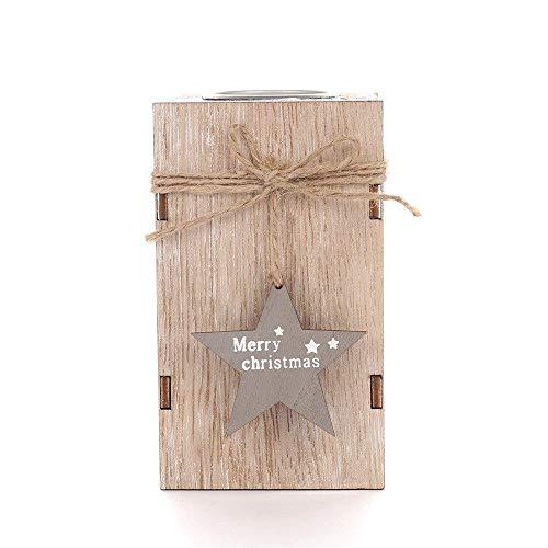 Ornamenten Kaarsenstandaarden Wood Kandelaar kaarshouder decoratieve lantaarns met Opknoping Star Decoration Wedding Decor van het Huis Gift Kandelaar (Kleur: Bruin, Maat: Maat L)