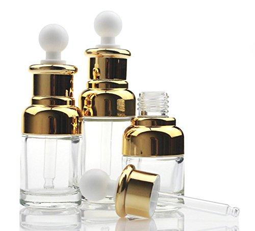 20ML nachfüllbar gehobenen klar Glas Flasche ätherisches Öl Elite Fluid Cosmetics Jar Pot Container Flakon mit Glas Pipette Eye Dropper