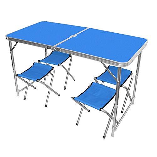Dekoration Zubehör Klappbarer Camping Tisch Outdoor Center Klapptisch Set mit Schirmloch und 4PCS Stühlen Tragbares Picknicktisch Kit Höhenverstellbar (Farbe: Blau Größe: 1 Stück)