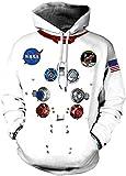 Chaos World NASA Hombres Sudaderas 3D impresión con Capucha Hoodie Sweatshirt Pullover Unisex (NASA...