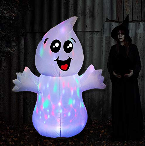 GOOSH 5 FT Halloween Inflatable Outdoor Cute Ghost with Magic Light, Blow Up Yard Decoration Clearance with LED Lights Built-in for Holiday/Party/Yard/Garden