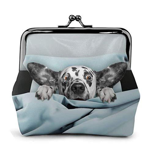 AOOEDM Lindo Cachorro de Perro Ojos sorprendidos en la Cama Azul Impreso Mujer 'S Cartera de Cuero Monedero Kiss-Lock Viajes Maquillaje Carteras