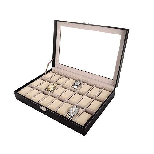 Reloj Box Pulsera Pantalla Bandeja Negro PU Cuero 24 Reloj Caja de almacenamiento Caja de almacenamiento suave Almohada desmontable Adecuado para decoración personalizada para el hogar y uso comercial