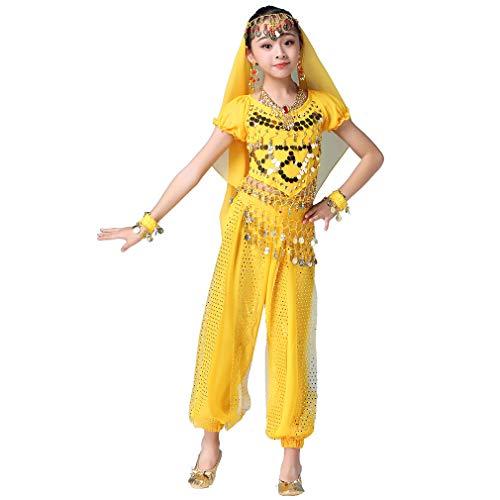 Maguun Conjunto de Traje de Danza del Vientre Vestido de Bollywood para niñas Niños Traje de Princesa árabe Bailarina India Rendimiento Carnaval 3 Piezas