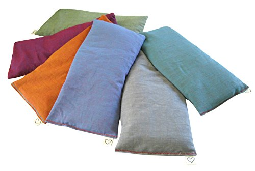 Peacegoods (6 Scented Lavender Flax Seed Eye Pillows - 4 x 8.5 - Soft & Soothing Cotton - Naturally Calming Colors - Teal Green Purple Terracotta Gray Lilac