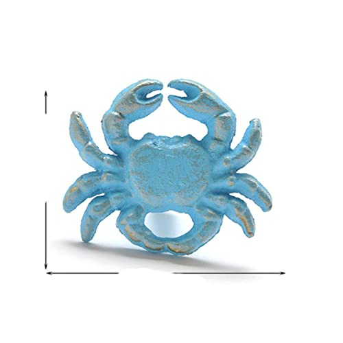 Kids' Room Mediterranean Blue Vintage Iron Art Crab Starfish Shell Door Knob Pull Cloth Hook Ancient Style Cabinet Drawer Handle-Blue 3