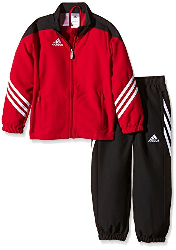adidas Kinder Sportanzug Fußball bekleidung Sere14 pre Y Präsentationsanzug, Top:University Red/Black/White Bottom:Black/White, 152