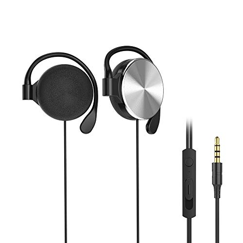 Clip-on Headphones, subwoofer Stereo Wired Headphones, Compatible with 3.5mm Interface Device, with Microphone(Silver)