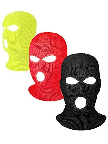Hicarer 3 Pasamontañas Envoltura de Cabeza Cubiertas Faciales de 3 Agujeros de Esquí de Punta de Deporte de Invierno al Aire Libre (Negro, Amarillo, Rojo)