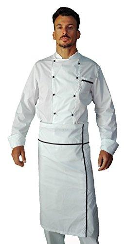 tessile astorino Bordado gratuito – Uniforme de cocina para cocinero y chef – Pantalón, chaqueta y delantal – Fabricado en Italia Color blanco. XL