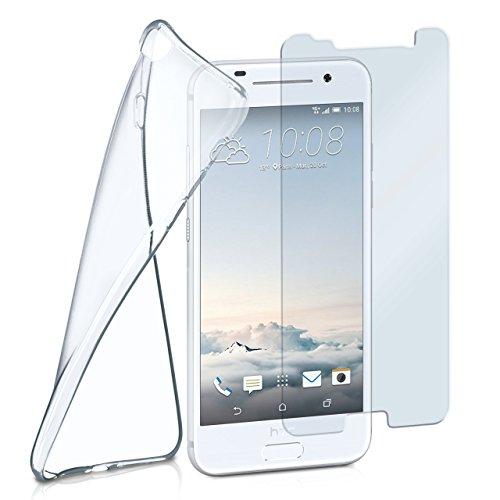 moex Silikon-Hülle für HTC One A9 | + Panzerglas Set [360 Grad] Glas Schutz-Folie mit Back-Cover Transparent Handy-Hülle HTC One A9 Hülle Slim Schutzhülle Panzerfolie