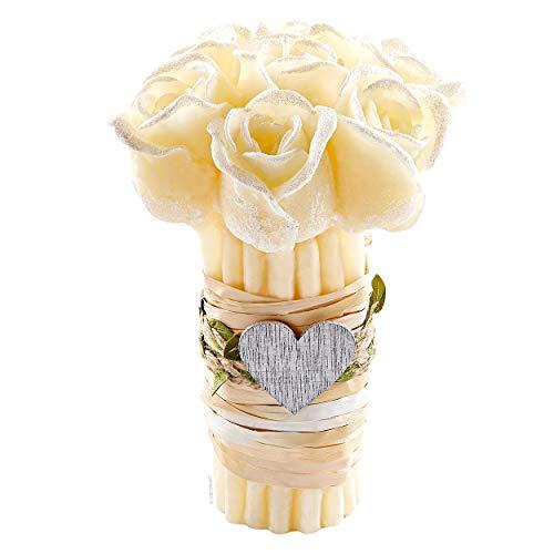 Mazzo di Fiori Rose Candela profumata HANDMADE con Olio Essenziale Vaniglia, Regalo Matrimonio Battesimo Cresima (Colore Crema Aroma Vaniglia)