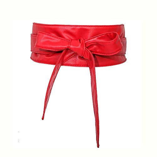 NIBABA Cinturón Elástico para Ropa Cinturón de Mujer Cinturón de Mujer Decorado Abrigo Cinturón de Cintura Corbata Sello de Cintura de Cuero Cinturón Vintage (Color : Red, Size : One Size)