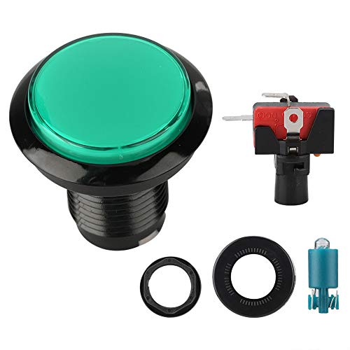 Beleuchtete Drucktasten mit Mikroschalterknopf und starker Verschleißfestigkeit Hochwertiges Kristallgehäuse für Arcade-Maschinenspiele(Grün)