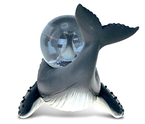 Puzzled Resin Stone Humpback Whale Snow Globe (45mm), 3.9 Inch Tall Figurine Intricate & Meticulous Detailing Art Handcrafted Tabletop Sculpture Centerpiece Ocean Sea Life Themed Home Décor