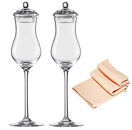 Eisch Calvados Glas mit Deckel 547/213 Melissa 2 er Dekomiro Set mit Glasreinigungstuch