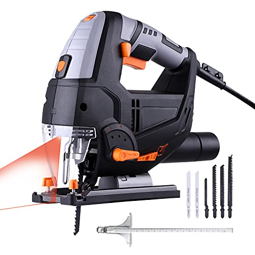 Jigsaw, 6.7 Amp 3000 SPM With Laser & LED, Variable Speed, Carrying Case, 6 Blades, Adjustable Aluminum Base, Pure Copper Motor, 10 Feet Cord - PJS02A