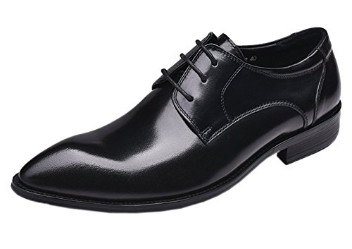 Derby Shoes for Men Oxford Dress Pointed Toe Leather Lace Up Modern Wedding Formal Flat Shoes Black 9.5 D(M) US