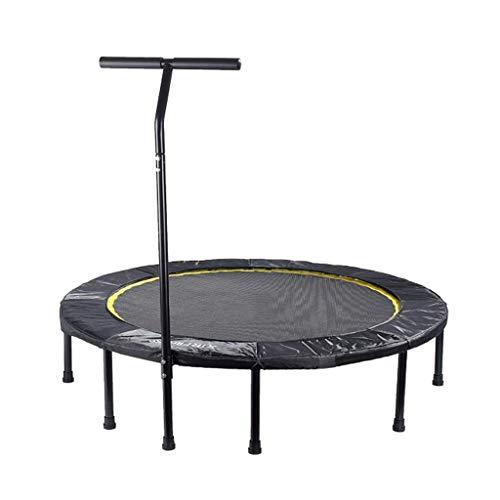 MXXQQ Colchoneta de Salto Rebounder Bouncer Trampolín Flexible Redondo de fácil Montaje con pasamanos Ajustable, Trampolín de Fitness para Adultos, Sistema de Cuerda elástica silenciosa y Segura T