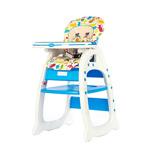 Evezo 6251A 3-in-1 Baby High Chair, Booster Seat, Desk and Chair Set, Ocean Blue (625-1-B)