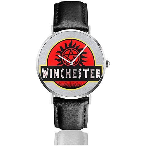 Supernatural Jurassic Park Winchester Uhren Quarzlederuhr mit schwarzem Lederband für Sammlungsgeschenk