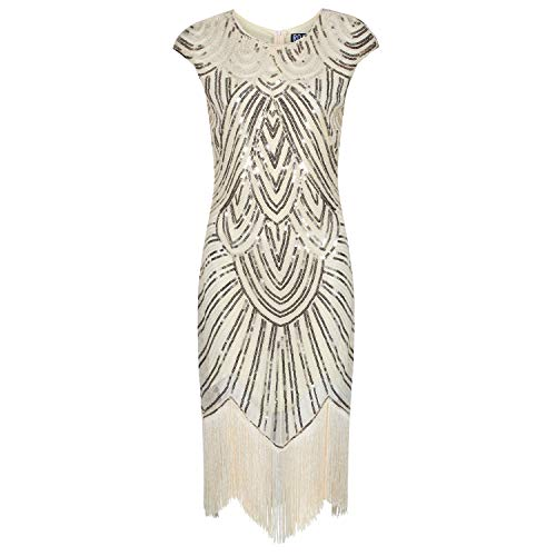 Ro Rox Evelyn Great Gatsby Cocktail Party 1920er Jahre Kleid - Champagner (L - 40)