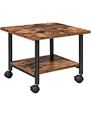 HOOBRO Under-Desk Printer Stand, 2-Tier Printer Copier Scanner Cart with Storage Shelf, Machine Cart with Lockable Wheels, Metal Frame, Industrial Style in Home Office, Rustic Brown and Black BF02PS01