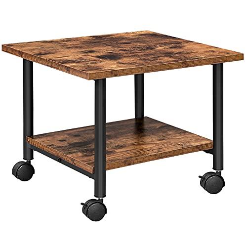 HOOBRO Under-Desk Printer Stand, 2-Tier Printer Cart with Storage Shelf, Printer Rack with Lockable Wheels, Metal Frame, Industrial Style in Office, Home, Copier, Scanner, Rustic Brown EBF02PS01