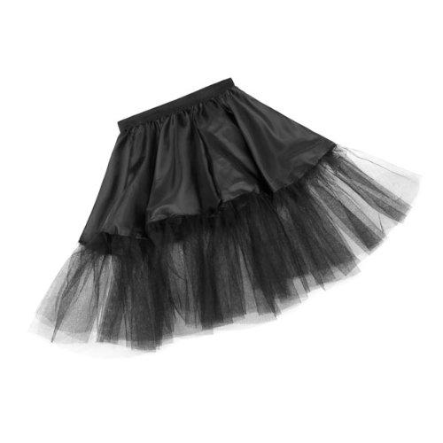 Kostümplanet® Petticoat schwarz für Kinder mit Gummiband und Tüll Tutu Petti Coat Unterrock schwarzer Petticoat