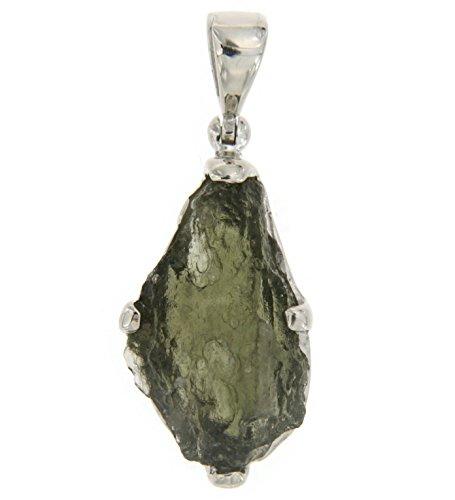 Starborn Natürlicher Moldavit Meteoritenglas 7-11 Karat Rohstein 925 Sterling Silber Anhänger