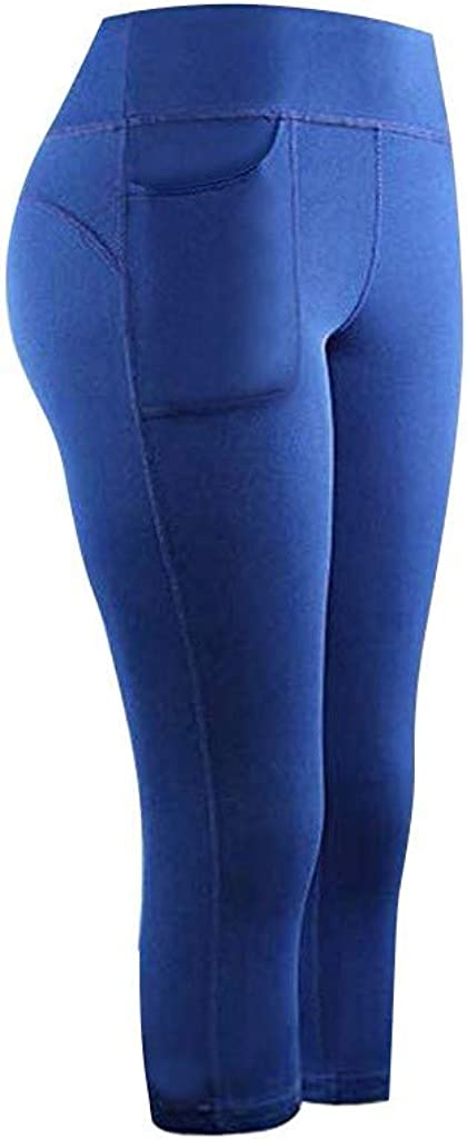 Women Yoga Pants Hip Lift Fitness Running Gym Sports Pant Solid Pockets Active Cropped Leggings