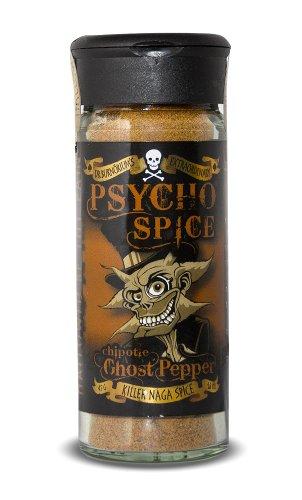 Psycho Spice Chipotle Ghost Pepper, miscela di spezie piccanti al peperoncino Naga Jolokia e Chipotle, 45g