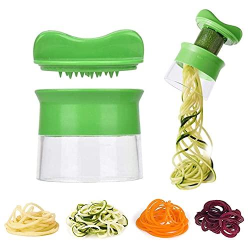 TSHAOUN Cortador de verduras de mano, espiralizador de verduras, cortador de espiral de acero inoxidable resistente para fideos de calabacín, espaguetis, bajo en carbohidratos, comidas sin gluten