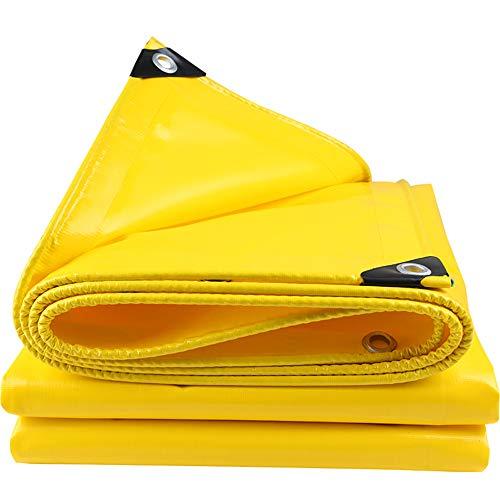 QHGao Regendekzeil, waterdicht, dik vuurvaste doek, moeilijk ontvlambare doek, dik slijtvast autozeil, camping, vissen, tuinvloerbedekking, gele isolatiedoek