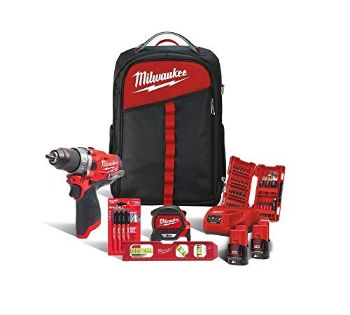 Milwaukee 4933471382 M12 FPD-202BA Cordless Impact Driver + Backpack + Accessories, Red & Black