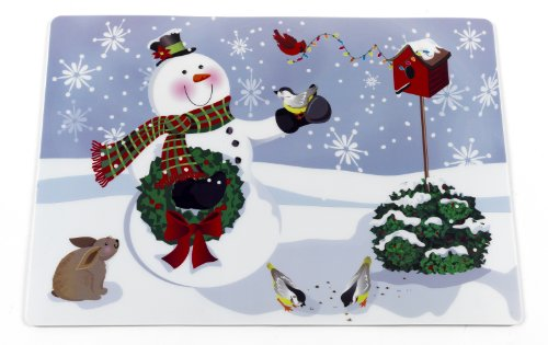 """Carnation Home Fashions XPLMT-SM/4"""""""" Snowman Holiday Place Mat, Set of 4, Multi"""