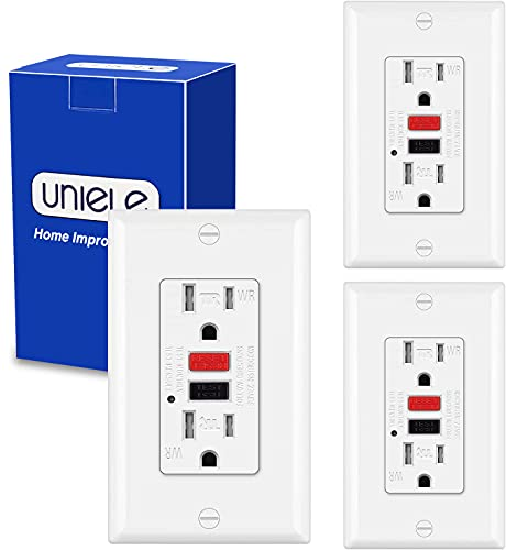 (3 Pack) UNIELE 15A/125V Outdoor GFCI Receptacle Outlet, Weather Resistant and Tamper Resistant GFI Outlet, 15 Amp Ground Fault Circuit Interrupter Outlet with LED Indicator, ETL Listed