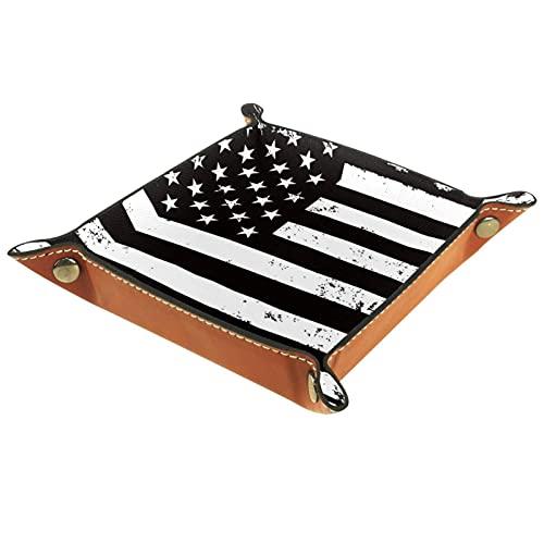 Caja de almacenamiento pequeña, bandeja de valet para hombre,bandera de EE.UU,Organizador de cuero para llaves de caja de monedas
