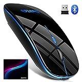 【Bluetooth5.0 七色ライト付き】 ワイヤレスマウス Bluetooth マウス 静音 無線 マウス 超薄型 2.4GHz 高精度 USB充電 800/1200/1600DPI 省エネモード 持ち運び便利 簡単接続 Mac/Windows/surface/Microsoft Pro/iPad/Androidに対応 DeliToo