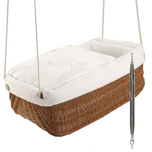 NEU SET Hängekorb Weidenkorb mit Textilset Wiege Babykorb Hängewiege Einschlafhilfe mit Federwiege