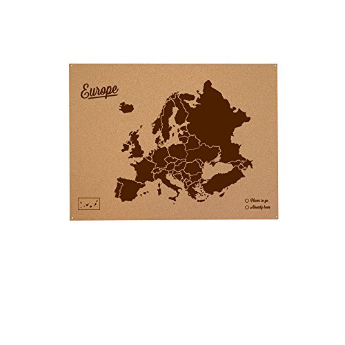 Miss Wood Mapa de Europa de Corcho, Pino, Marrón, XL-60x90cm