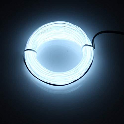 SATISFIED 5M Neon Beleuchtung Weiß EL Wire Kabel,Neon Seil Lichter,flexible Neonlicht für DIY Weihnachtsfeiern Rave Partys Halloween Kostüm